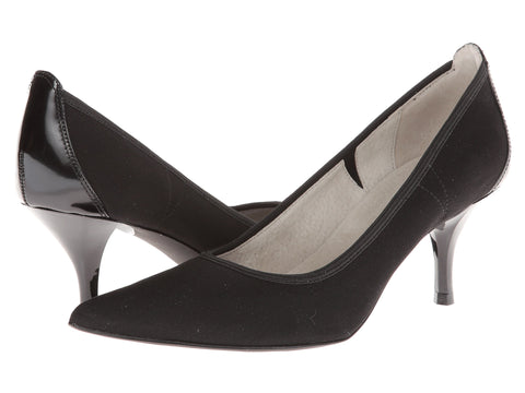 "TAHARI Women's ""Dottie"" •Black Fabric & Patent Leather• Pump - ShooDog.com"