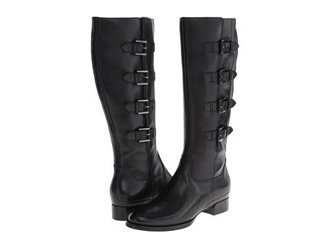 "ECCO Women's ""Sullivan"" Tall Buckle Boot -Black Leather- - ShooDog.com"