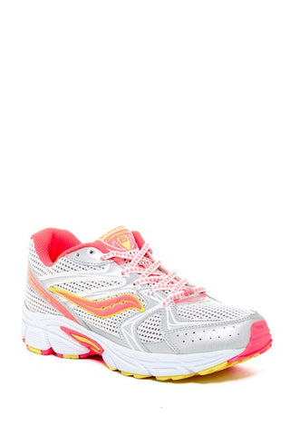 Saucony Cohesion 6 LTT Sneaker (Big Kid) Running Shoe - White/Silver/Pink/Neon - ShooDog.com