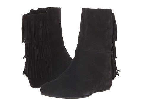 ISOLA Women's Tricia •Black Suede• Fringed Wedge Boots - ShooDog.com