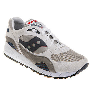 Mens Saucony Shadow 6000 - WIDE Width  •White/Grey/Navy• - ShooDog.com