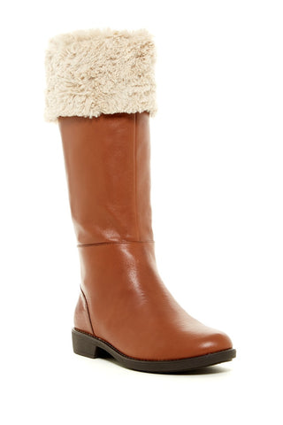 TARYN ROSE Women's •Avis• Mid-Calf Leather Boot with Faux Fur Trim - ShooDog.com