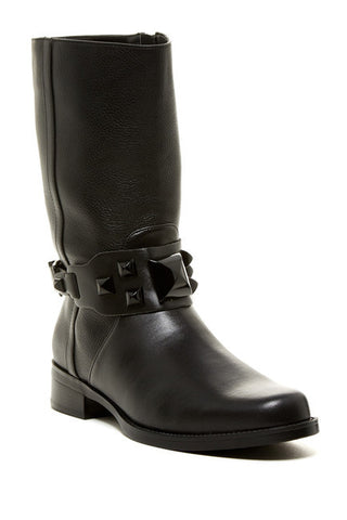 ELLEN TRACY Women's Buckley •Black Leather• Mid-calf Boot - ShooDog.com