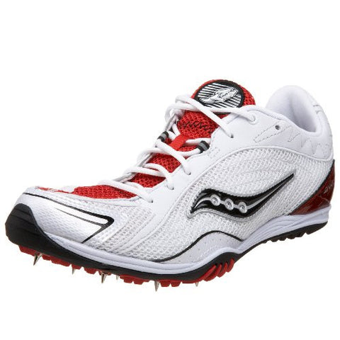 Saucony Men's Shay XC Spike Racing Shoe •White/Red• - ShooDog.com