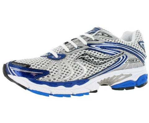 Men's Saucony Progrid Ride 3 •White/Silver/Blue• Running Shoe - ShooDog.com