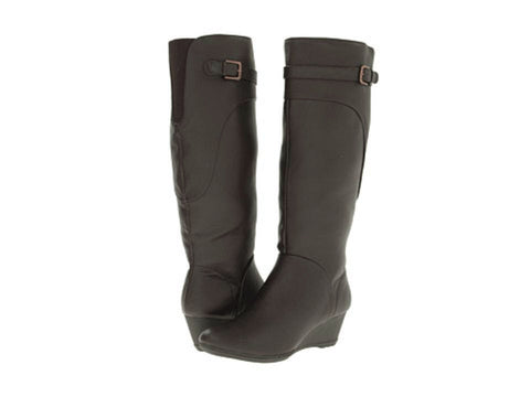 SOFTSPOTS Women's Oivia •Dark Brown•  Knee High Wedge Boots - Water Resistant