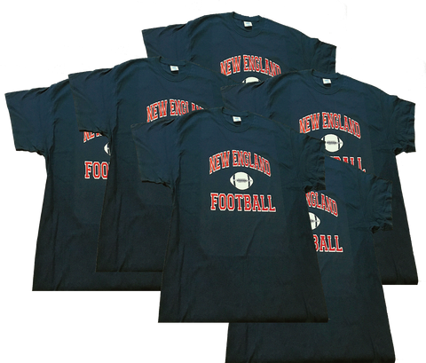 6- PACK Adult's •New England Football Print SS T-Shirt•  - Patriots football Colors