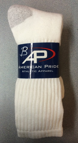 AMERICAN PRIDE    Mens White Crew Socks •3-pair pack•  MADE IN USA