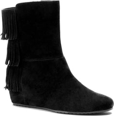 ISOLA Women's Tricia •Black Suede• Fringed Wedge Boots