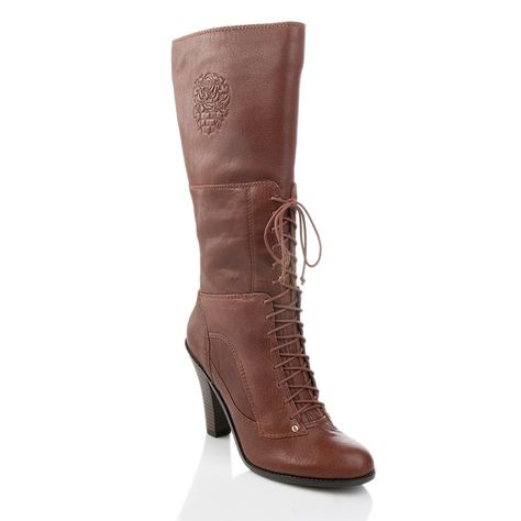 Vince Camuto  Women's •Claras•  Leather Granny Boot - Brown - ShooDog.com