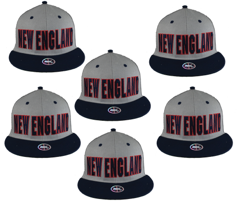 6-PACK Adult's •New England Lettering• Snap-Back Cap - Patriots football Colors - ShooDog.com