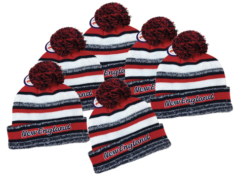 6-PACK Adult's •New England Lettering• Embrioderd Knit Beanie Cuffed Pom Hat - Patriots football Colors