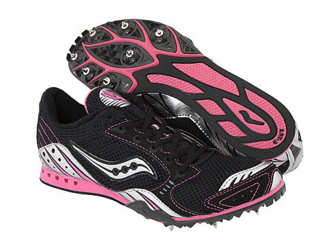 Saucony Women's Velocity 3 Track & Field Shoes/Spikes •Black/Silver/Pink• - ShooDog.com