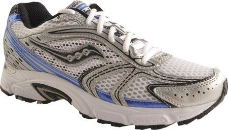 Men's Saucony Grid Cohesion 4•White/Black/Blue• Running Shoe - ShooDog.com