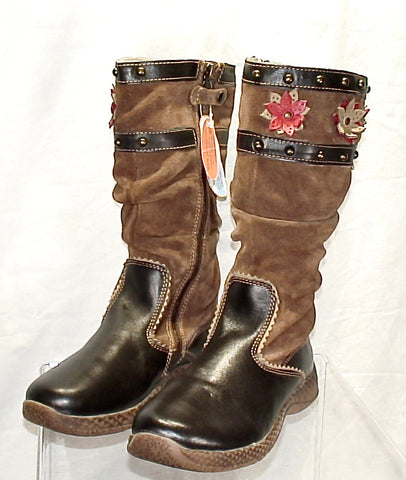 Girl's Primigi  Flower-Accent Tall Boot  - Brown Seude/Leather