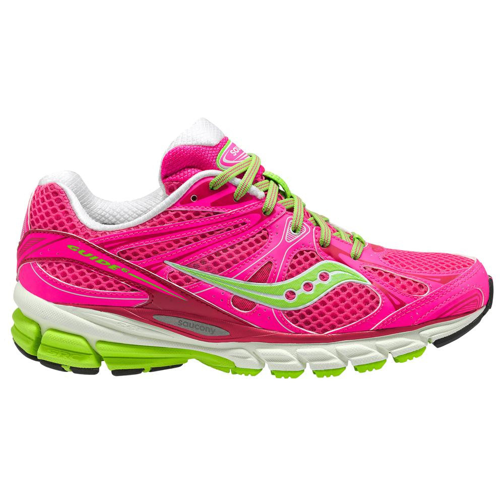Women's Saucony ProGrid Guide 6 •Pink/Neon Green• Running Shoe - - ShooDog.com