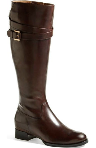 "ECCO Women's ""Sullivan"" Tall Strap Boot - Espresso Brown Leather-"