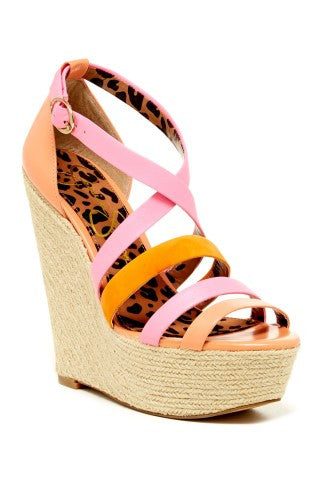 Jessica Simpson Women's Ulrich Wedge Sandal  •Antique Rose•  MSRP $89