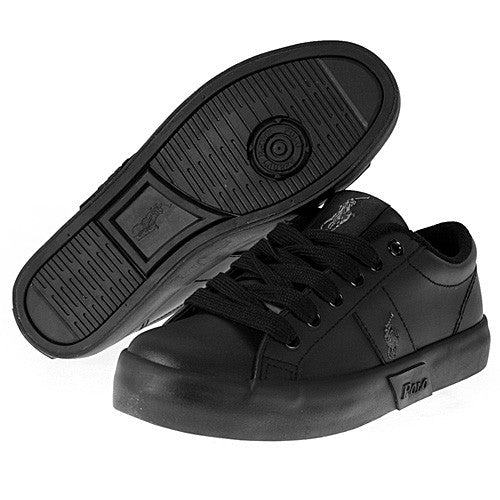 POLO RALPH LAUREN  •Giles• Black Leather Sneaker - Fits Women or Youth - ShooDog.com