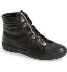 Ash Women's •Vespa• Leather High Top Sneakers  - Black - ShooDog.com
