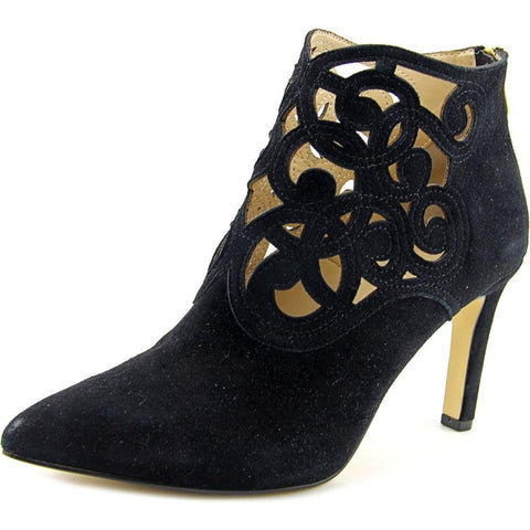 ADRIENNE VITTADINI Women's •Nidia• Pointed Toe Suede Black Ankle Boot - ShooDog.com