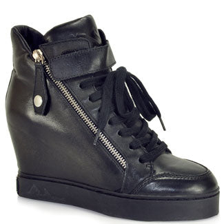 ASH  Women's •Body• Wedge Sneaker - Black Leather - ShooDog.com