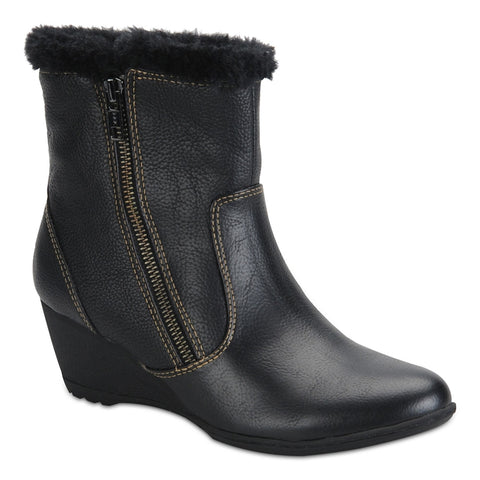 Women's  Softspots •Odele • Weatherproof Wedge Booties-Black - ShooDog.com