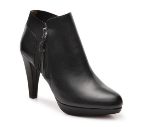 ADRIENNE VITTADINI Women's •Perrine• Ankle Bootie -Black Calf Leather-