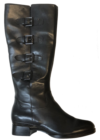 ECCO Women's •Sullivan•Tall Strap Boot -Black Leather- Size  7-7.5 US/EU 38 - ShooDog.com