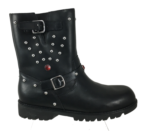 RALPH LAUREN  Misses •Rocker Mid• Black Moto Boot - Fits Women or Youth