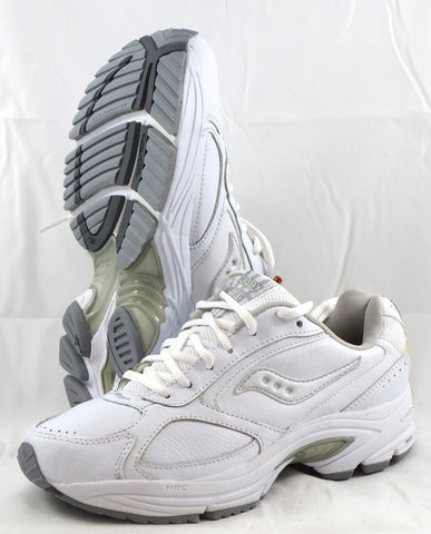 SAUCONY Women's Grid Omni Walker •White Leather• - ShooDog.com