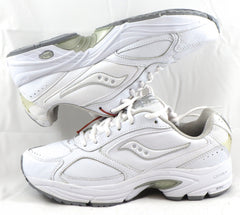 SAUCONY Women's Grid Omni Walker •White Leather• WIDE WIDTH - ShooDog.com