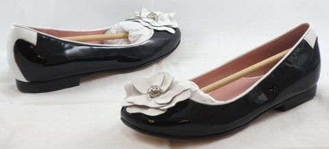 TARYN ROSE Women's Britten Flat - Black Patent/ White Leather - 6M - ShooDog.com