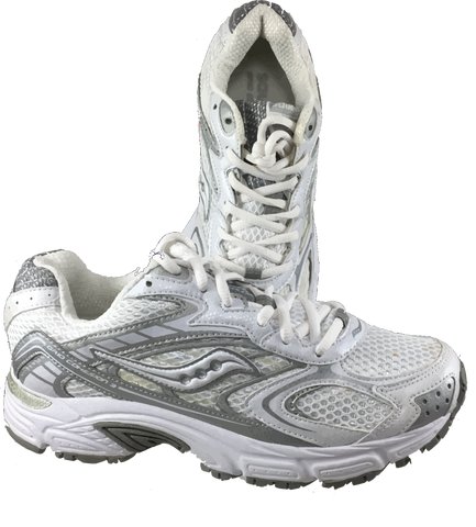 SAUCONY Women's Grid Cohesion 3 -White/Silver- Running Shoe - ShooDog.com