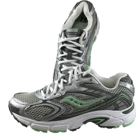 SAUCONY Women's Grid Cohesion 3 -Silver/Grey/Green- Running Shoe - ShooDog.com