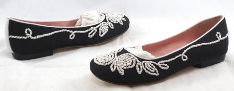 TARYN ROSE Women's Bubka Flat - Black/White - 6M - ShooDog.com