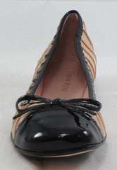 TARYN ROSE Women's Bambi Flat - Bone/Black Patent - 6M - ShooDog.com