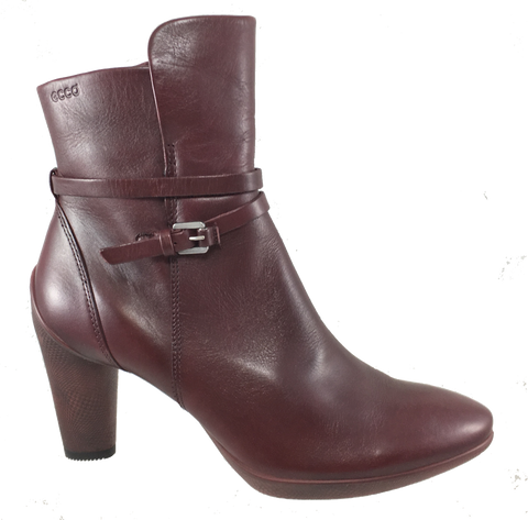 Women's ECCO Sculptured 75  •Merlot Leather• Ankle Boot - ShooDog.com