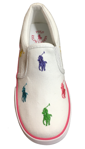 "POLO RALPH LAUREN Kids' ""Bal Harbour Repeat"" Canvas Slip On  -White/Multi-"