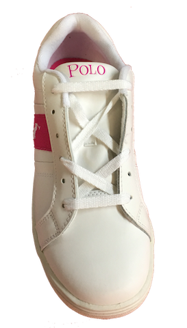 POLO RALPH LAUREN  •Racquet• White/Fushia Leather Sneaker - Fits Women or Youth