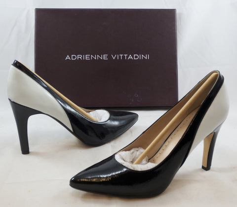ADRIENNE VITTADINI Women's Cherish Pump - Black Patent/White - MSRP $109