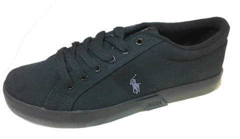 POLO RALPH LAUREN  •Giles• Black Canvas Sneaker - Fits Women or Youth - ShooDog.com