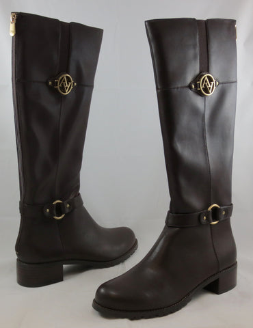 ADRIENNE VITTADINI Women's Tripp Boot - Dark Brown Smooth Leather - MSRP $179