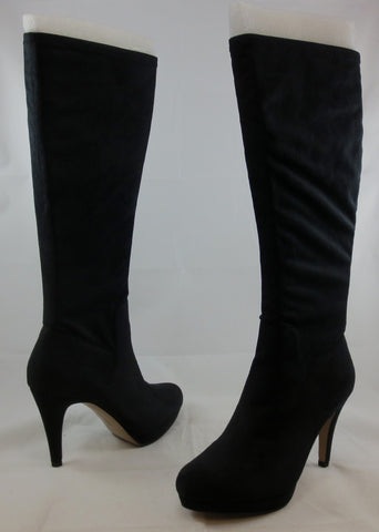ADRIENNE VITTADINI Women's Premiere Boot - Black Stretch Microsuede - MSRP $149