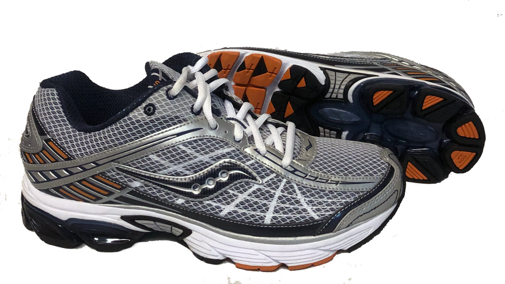 Saucony Mens Grid Raider Running Shoe •Silver/Navy/Orange• - ShooDog.com