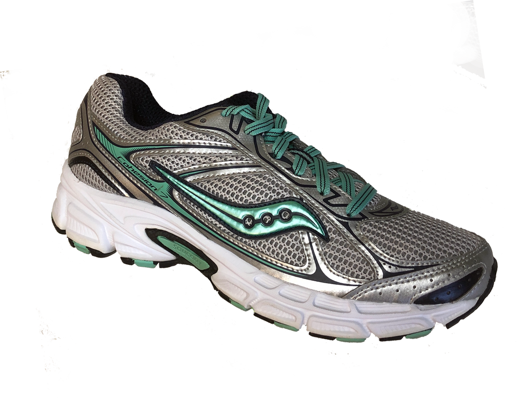 SAUCONY Women's Grid Cohesion 7 -Silver/Navy/Green- Running Shoe - ShooDog.com