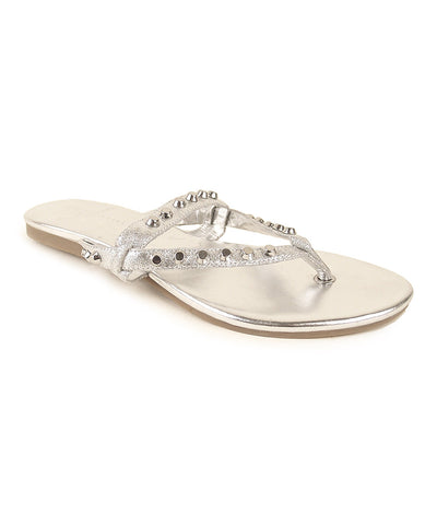 Womens J.LITVACK Mykonos Studded Leather Thong Sandal •Black or Sliver• - ShooDog.com