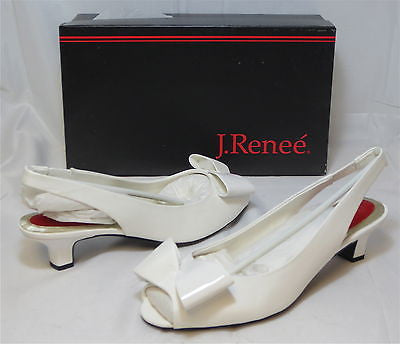 J. RENEE Women's Kiana - White Pat/Fabric - Multi SZ - NIB - MSRP $80!