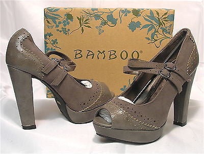 BAMBOO Women's Leighton Peeptoe Pump - Taupe - Multiple SZ NIB - MSRP $32! - ShooDog.com