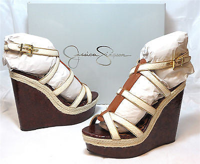 JESSICA SIMPSON Women's •Ginny• Wedge Sandal - White/Multi - ShooDog.com